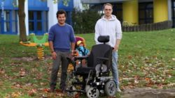 Photo: Michael Weber (left) and Johannes Imhoff presenting their child seat for wheelchairs ; Copyright: Koziel/TUK