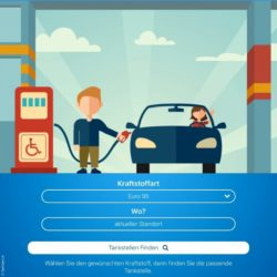 Graphic: Screenshot of the fuelService app, which shows two figures at a gas station; Copyright: fuelService