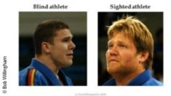 Photo: Comparison between sighted and blind athletes who just lost a match for a medal; Copyright: Bob Willingham