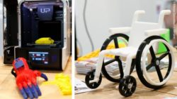 Photo collage: 3D-printer with a printed hand and a small model wheelchair which was printed with 3D-printing; Copyright: Messe Düsseldorf/ctillmann