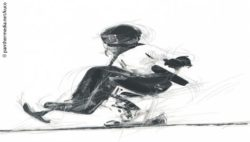 Photo: A sketch showing an athlete with a monoski; Copyright: panthermedia.net/Kuco