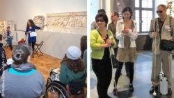 Photo: Two photos of participants of workshops in a museum