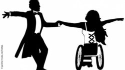 Graphic: A silhouette of a wheelchair dancing couple; Copyright: panthermedia.net/StellaL