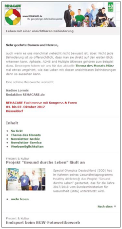 Graphic: Advertisements in the REHACARE Newsletter