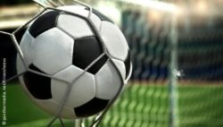 Photo: Close up of a soccer ball which flies into the goal; Copyright: panthermedia.net/Krivosheevv