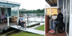 Photo collage: A woman in a wheelchair leaves the houseboat via a ramp to get ashore. A wheelchair user sits behind the wheel of the houseboat; Copyright: BunBo – Das BungalowBoot