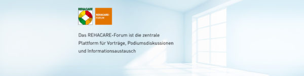 "Graphic: Event graphics for the REHACARE Forum, with the German inscription: ""The REHACARE Forum is the central platform for lectures, panel discussions and information exchange""."