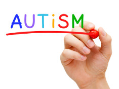"Photo: Hand underlining the word ""autism"""