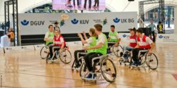 Photo: Wheelchair users while doing some Wheelchair Flying Disc Sport; Copyright: rollstuhlsport.de