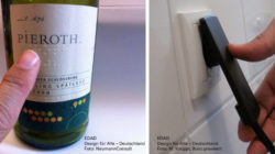 Photo: Wine label with Braille, plug in power outlet