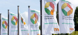 Photo: REHACARE INTERNATIONAL flags in front of trade fair entrance