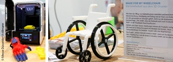 Photo collage: 3D printer with a printed hand and a small model wheelchair which was printed with 3D printing; Copyright: Messe Düsseldorf/ctillmann