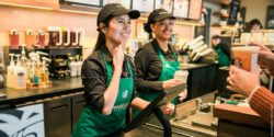 Photo: Employees at Starbucks Signing Store selling coffee in ASL; Copyright: Joshua Trujillo | Starbucks Stories