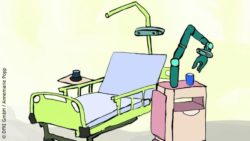 Graphic: Illustration of the care bed of the future; Copyright: DFKI GmbH / Annemarie Popp
