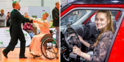 Photo collage: Wheelchair dance couple while dancing, young woman sitting in a customized car; Copyright: Messe Düsseldorf / ctillmann