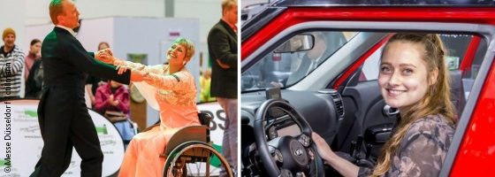 Photo: Wheelchair dance couple while dancing, young woman sitting in a customized car; Copyright: ctillmann