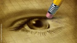 Photo: Pencil drawing of an eye, which is partly erased; Copyright: PantherMedia/lightsource