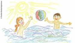 Photo: Drawing of two children playing together on their summer vacation; Copyright: PantherMedia/elightshow