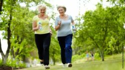 Photo: Two female seniors during their fitness program outside; Copyright: PantherMedia/pressmaster