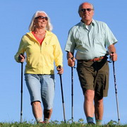 Photo: Elderly woman and man walking