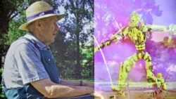 Photo: elderly man (left) and a robot (right); Copyright: Anne Guenther/FSU Jena