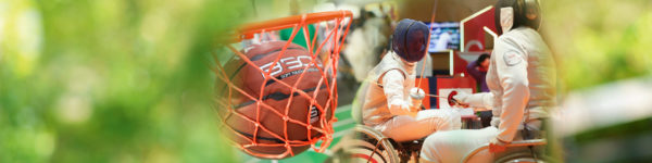 Photo collage: A basketball and fencer in wheelchairs