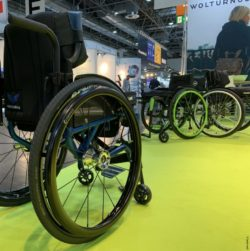 Photo: The Merlin wheelchair at Wolturnus booth at REHACARE 2019; Copyright: beta-web