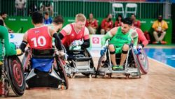 Photo: Wheelchair rugby players in action; Copyright: Andi Weiland | Gesellschaftsbilder.de