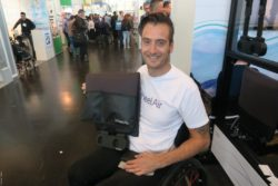 Photo: Wheelchair user with the WheelAirsystem; Copyright: beta-web/Schlüter